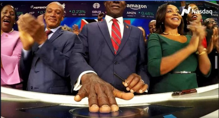 Historic Moment: T&T's Prime Minister, Keith Rowley Rings NASDAQ Bell