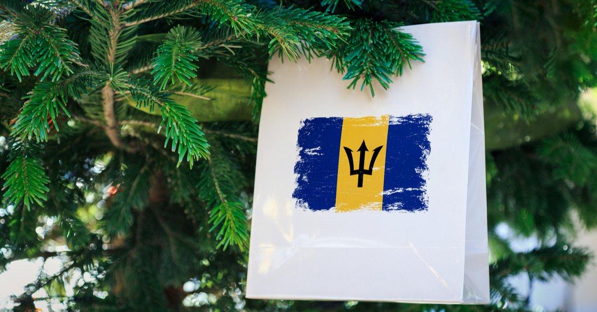 Barbados flag printed on a Christmas shopping bag-img (1)