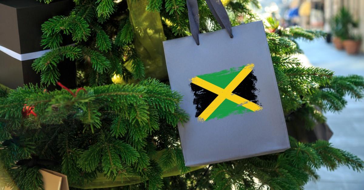 Jamaica flag printed on a Christmas shopping bag-img (1)